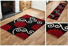 FLOWERY DESIGN RUG & RUNNER CHEAP COST QUALITY BLACK RED LARGE SMALL MODERN RUG