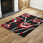 MODERN LARGE SMALL LOW COST QUALITY RUG FLOWERY DESIGN BLACK RED RUG & RUNNER