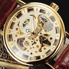 SEWOR New Luxury Men's Mechanical Leather Band Transparent Skeleton Wrist Watch