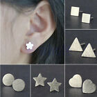 Hot New Cool Women Men Silver Plated Star Triangle Frosted Ear Studs Earrings WS