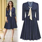 Women Elegant Striped Business Cocktail Party Workwear Casual Flare A-Line Dress