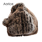 HF7033 women real Rex rabbit fur caps hats winter warm beanies