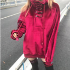 Long Sleeve Women's Lace Up Hoodie Pull Over Cross Oversize Tops Shirt LF364