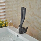 Elegant Deck Mount Bathroom Basin Faucet Waterfall Sink Mixer Tap Hot Cold Mixer
