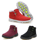 Women's Short Flat Snow Boot Warm Winter Cotton Ankle Shoes Red/Wine Red/Black