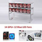 14 GPU With 12LED Fans Aluminum Open Air Mining Rig Stackable Frame Case For ETH