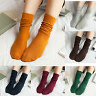 Women Cotton Knee Socks Fashion Casual Soft Athletic Socks Pure Color 3 Pairs
