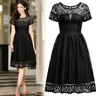 Women Elegant Black Embroidery Cocktail Evening Party Prom Clubwear A-Line Dress