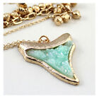 Women's Fashion Druzy Sharp Tooth Pendent Earrings Necklace Jewelry set