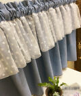 Village blue cotton block lace Home Kitchen window Cafe Curtain 16040404