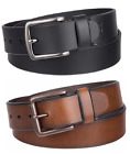 Levi's Mens' Casual Leather Belt, Brown, Black