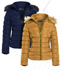 Womens Quilted Jacket Padded Faux Fur Hood Coat Ladies Parka Sizes 8 10 12 14 16