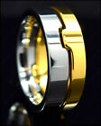 Mens Tungsten Carbide Ring Gold Silver Split Combo Wedding Band Anniversary 8mm