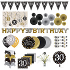 30th Birthday Party Decorations Black Gold Tableware Plates Cups Napkin Cutlery