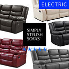 BELFAST Premium Bonded Leather ELECTRIC Power Recliner Sofas 3 + 2 Seaters