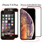 For iPhone X XS Max XR 7 8 Plus Full Coverage Tempered Glass Screen Protector