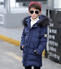 Boys Kids Winter 80% Duck Down Parka School Coat Hooded Quilted Age 6-12 R04