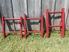 Brightly Colored Colonial Red Rustic Antique 2 Rung Ladder