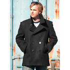 Men's US Navy Style Black Wool Winter Reefer Vintage Pea Coat Jacket Parka