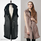 Bosroom Limited Genuine Thick Shearling Fur Vest Long Coat Two pockets Black S