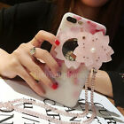 For iPhone 8 X 6S 7 Plus Cute Diamond Flower Mirror Soft Case Cover & Necklace