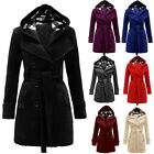 Women Winter Hooded Belted Trench Coat Double Breasted Warm Long Jacket Outwear