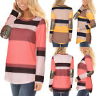 UK Womens Sequins Long Sleeve Striped Pullover T-Shirt Ladies Casual Tops Blouse
