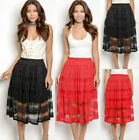 Women's Elastic Waist Layered Pull On Overlay Mesh Floral Lace Flared Midi Skirt