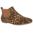 New Womens Pixie Chelsea In Leopard Print Faux Suede Ankle Boots UK Size 3-8