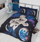 Spaceman Kids Outer Space Glow In The Dark Single / Double Duvet Quilt Cover Set