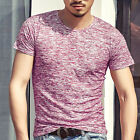 Fashion Men's Muscle Short Sleeve Shirt V-neck Casual Slim Fit T-shirt Tee Top S