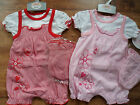 Baby Girls Cute Overall & T.Shirt Set with Hat.N/B 0-3,3-6 mths Red or Pink  .