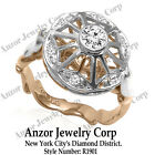 14k Solid Two-Tone Gold Diamond Engagement Ring 585 Style Number: R1901