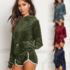 UK WOMENS VELVET VELOUR CRUSHED 2PC JOGGING TOP SHORTS LOUNGEWEAR TRACKSUIT SET
