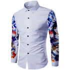 2017 European American Fashion Printed Design Slim Fit Long Sleeve Button Shirts