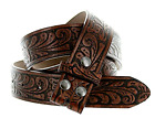 Western Embossed Brown Leather Belt Strap - w/ Snaps for Interchangeable Buckles