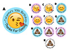 EMOJI POOP POO PERSONALIZED ROUND BIRTHDAY PARTY STICKERS FAVORS ~ VARIOUS SIZES