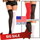 Two Tone Sheer Mesh Thigh Hi Jester Harlequin Halloween Costume Tights Hosiery