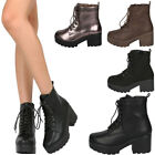 boot lace up - New Women Round Toe Lace Up Military Combat Ankle Booties Boot Lug Sole Platform