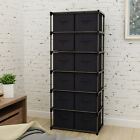 Storage Shelf Unit with 6 Shelves and 12 Removable Non-woven Fabric Bins