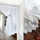 Embroidery white flowers Home decorate Kitchen Lace Sheer Cafe Curtain
