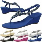 WOMENS SANDALS LADIES TOE POST DIAMANTE SHIMMER WEDGE WEDDING OCCASION STYLE NEW