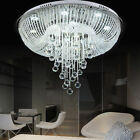 Luxury Clear Crystal & Glass Draping FlushMount Chandelier Lighting Lamp Fixture