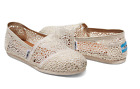 Final Sale TOMS CLASSICS Women's Natural Moroccan Crochet Slip-on Shoes Size7.5