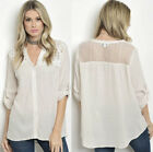 New Boho bohemian 3/4 sleeve Relaxed fit Button Up Lace crochet Top Blouse Shirt