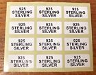 925 STERLING SILVER Jewellery Labels Stickers 20mmx10mm Gold or Black on White