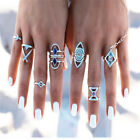 Byspt 9Pcs Set Bohemia Style Engraving Animal Arrow Blue Bead Knuckel Ring Women