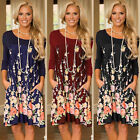 UK Womens Long Sleeve Floral Pocket Party Ladies Casual Loose Mini Swing Dress
