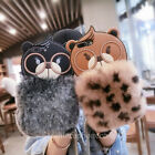 Cute Bear Fluffy Fuzzy Plush Soft Rabbit Fur Case Cover for iPhone 8 6S 7 Plus
