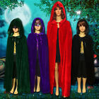 Witchcraft Cape Gothic Hooded Velvet Cloak Wicca Robe Cosplay Halloween Costume